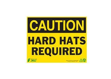 7X10 POLY CAUTION HARD HATS RE