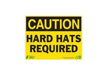 7X10 ALUM.CAUTION HARD HATS RE