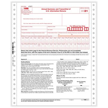 1096 Annual Summary & Transmittal 2part 1wide Carbonless