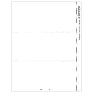 W2 Employee 3Up Horizontal Blank w/Backers