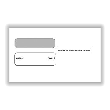 Double Window Envelope for official 2Up W2's Self Seal