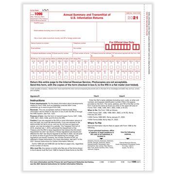 1096 Annual Summary & Transmittal Cut Sheet